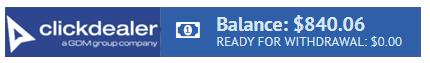 ClickDealer Balance: $840.06