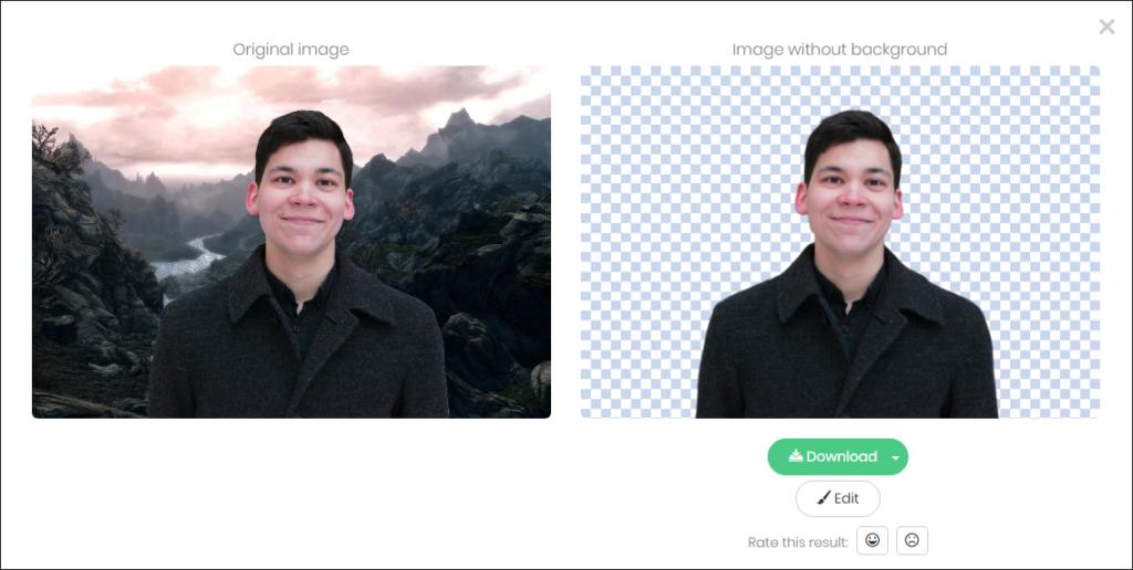 Фотография до и после вырезания фона (на фоне пейзаж видеоигры)